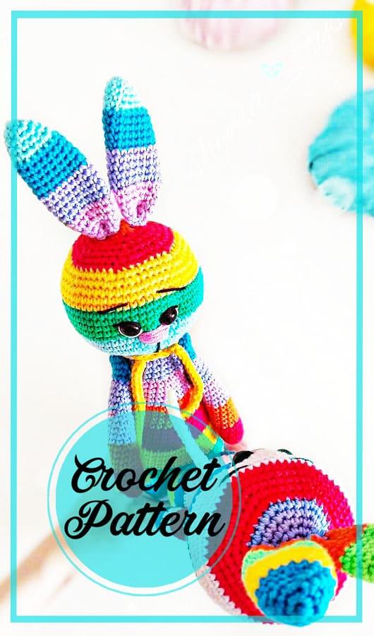 Rainbow bunny amigurumi crochet pattern