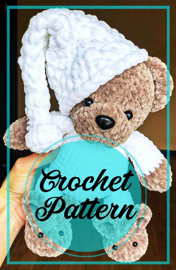 Crochet teddy bear in pajamas amigurumi pattern