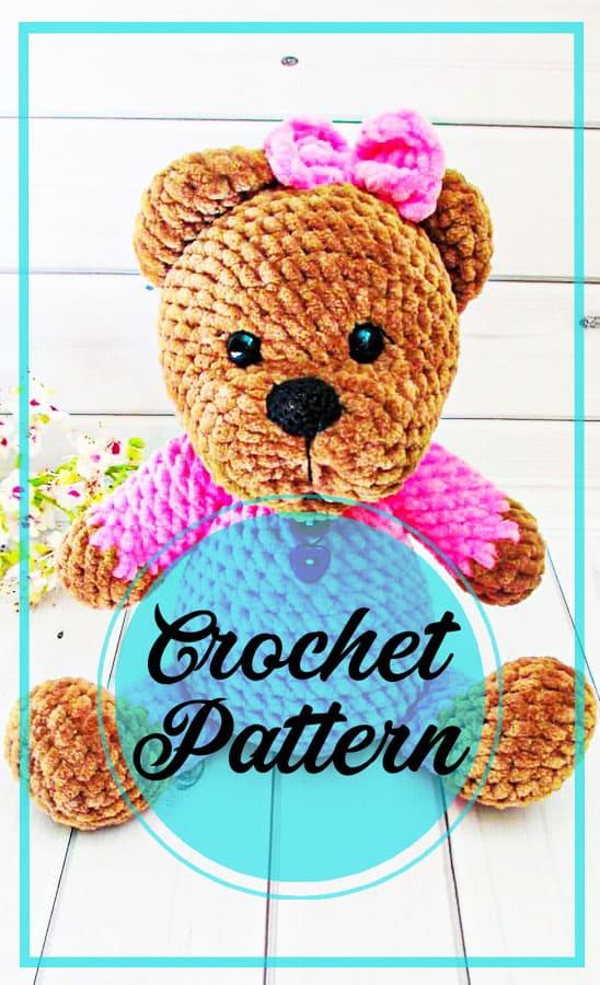 Teddy bear in pajamas amigurumi crochet pattern
