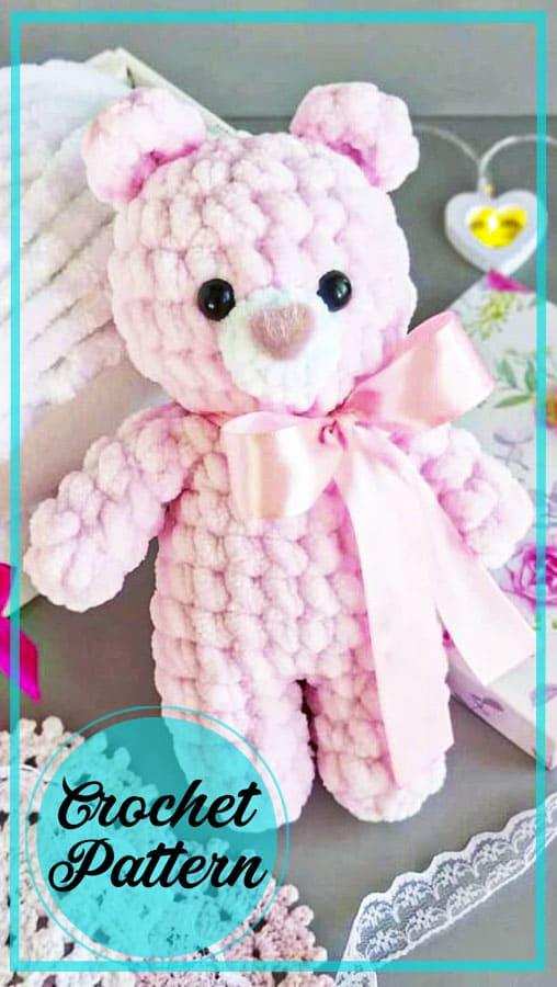 Soft pink amigurumi bear crochet free pattern