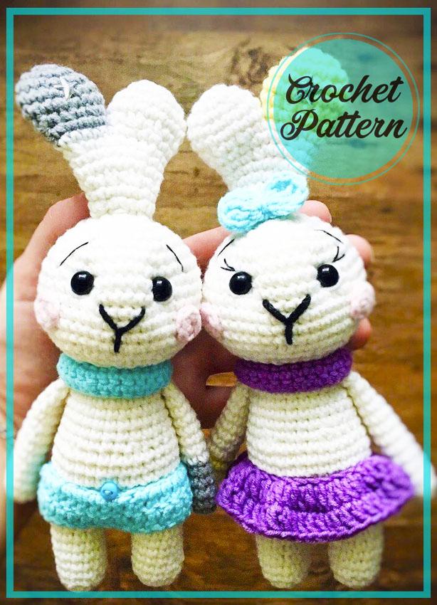 White bunny with skirt amigurumi crochet pattern