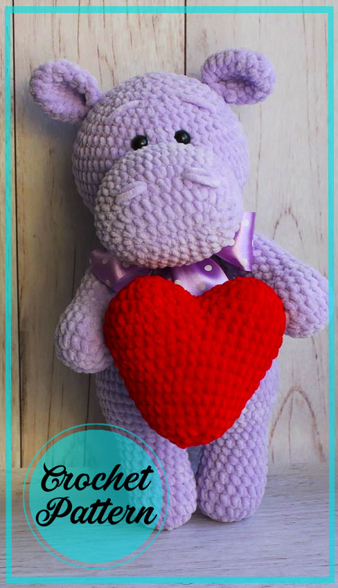 Purple Hippo Amigurumi free crochet pattern