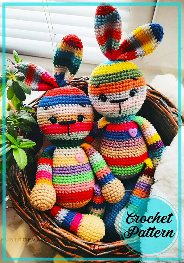 Cute Rainbow Bunny Amigurumi Crochet Pattern