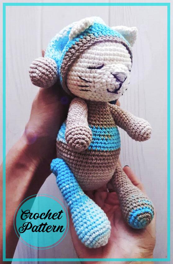Sleepy Cat amigurumi free crochet pattern