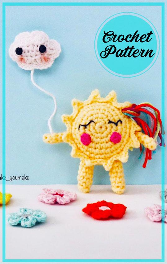 Cute Sun Amigurumi free crochet pattern