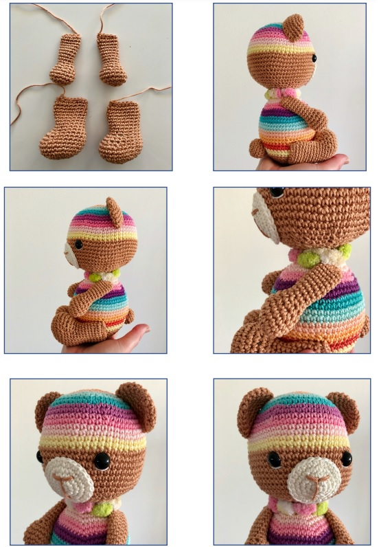Essie rainbow bear amigurumi crochet pattern