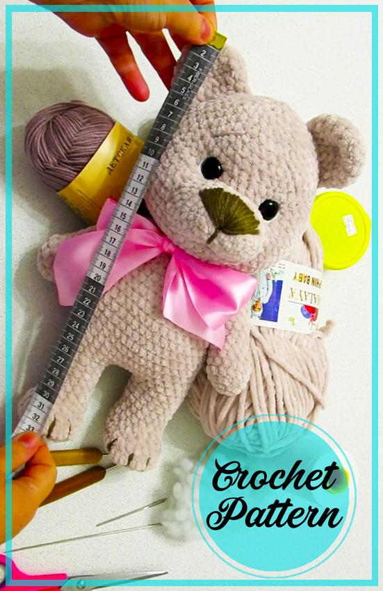 Grey Teddy Bear Amigurumi Free Crochet Pattern