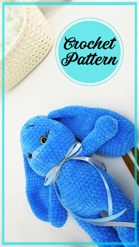 Blue Plush Bunny Amigurumi Crochet Pattern