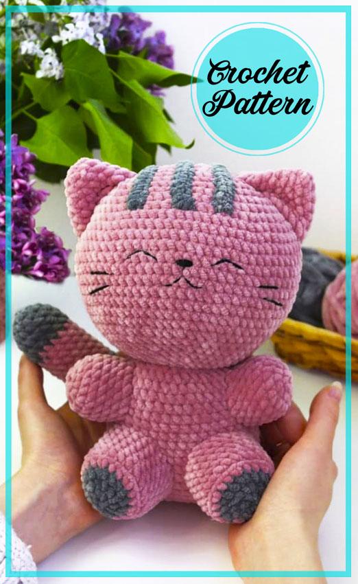 Plush Purple Cat Amigurumi free crochet pattern