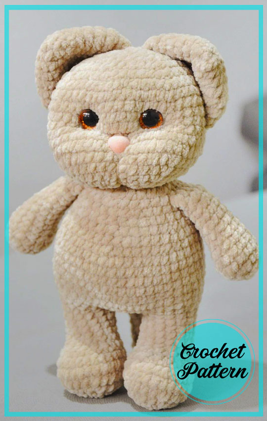 Peach Plush Cat Amigurumi Free Crochet Pattern