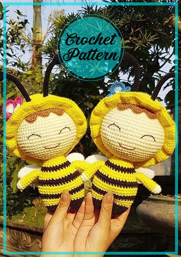 Spring Bee Doll amigurumi crochet pattern