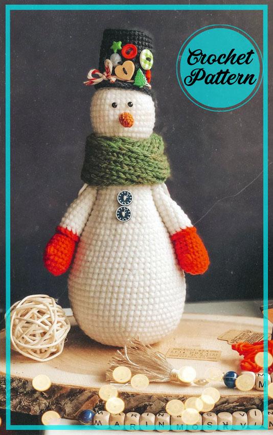 Tall Snowman Amigurumi free crochet pattern