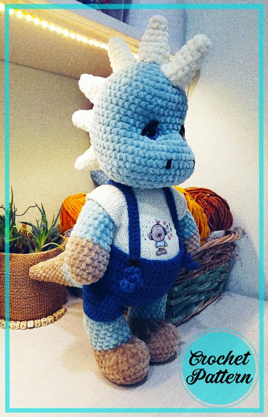 Blue dinosaur amigurumi crochet pattern
