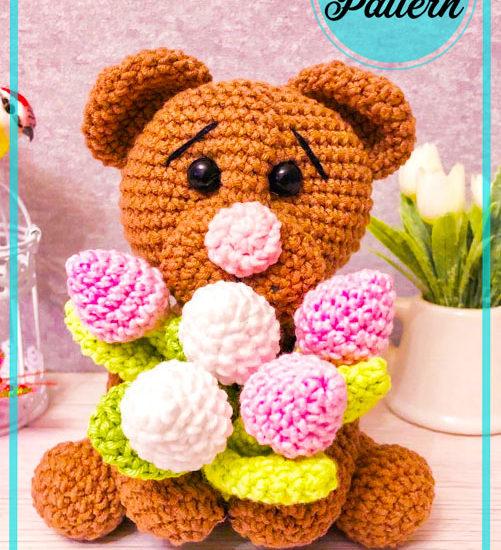 Teddy Bear With Tulips Amigurumi Crochet Pattern