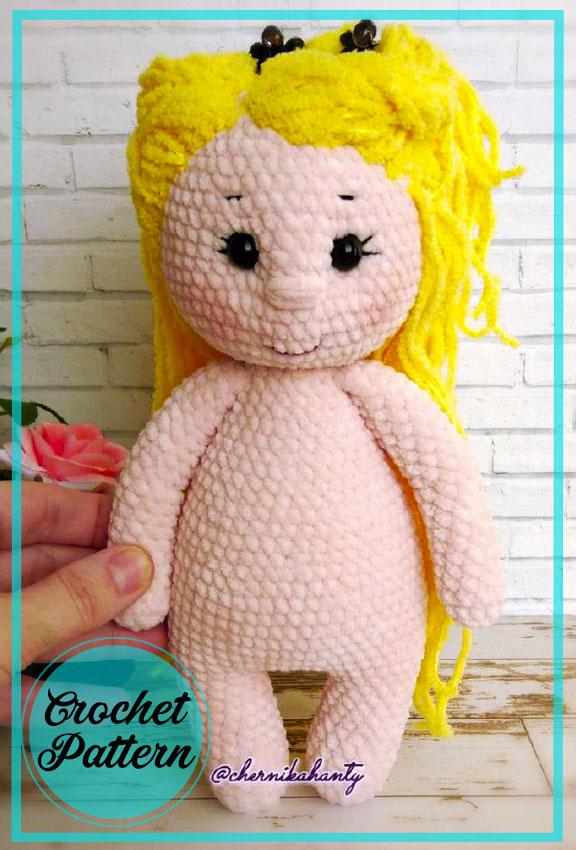 Blonde Easy Amigurumi doll crochet free pattern