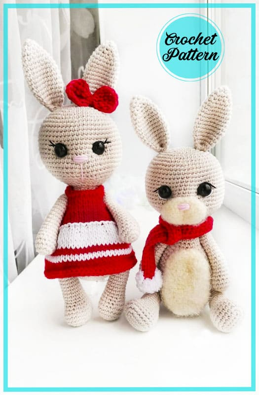 White Cute Bunny Amigurumi Crochet Pattern