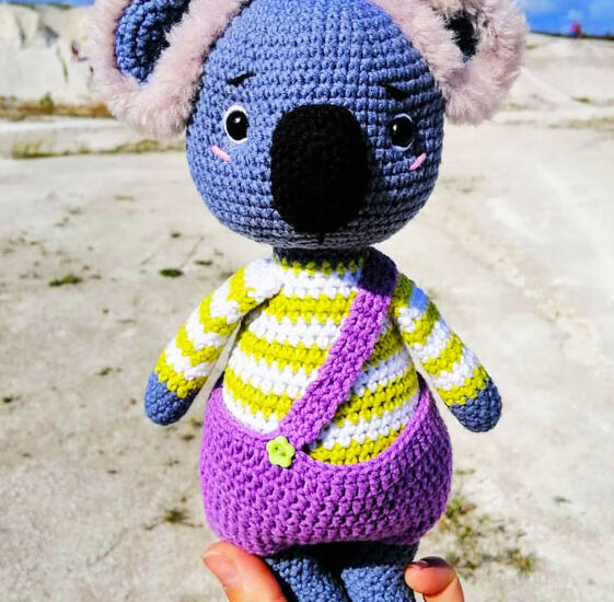 Blue Koala with Short Amigurumi Crochet Pattern