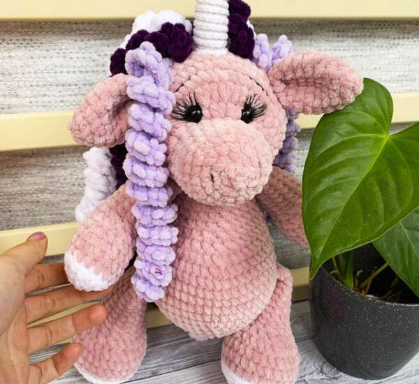 Lelia the Velvet Unicorn Amigurumi Crochet Pattern