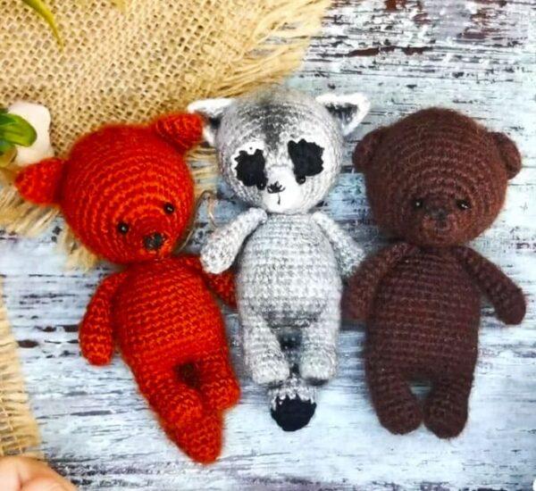 Raccoon and Bear Keychain Amigurumi Crochet Pattern