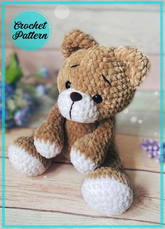 Velvet Teddy Bear Niko Amigurumi Crochet Pattern