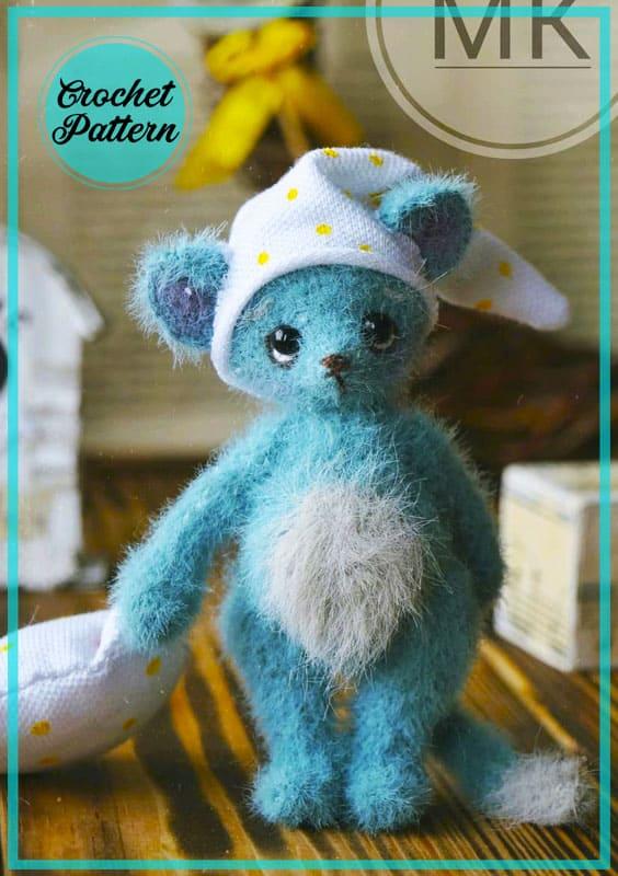 Sleepy Blue Mouse Amigurumi Häkelanleitung